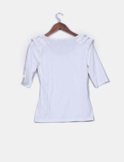 Camiseta basica blanca manga francesa detalle volantes hombros