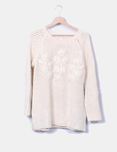 Jersey de punto beige detalle flores Pull&Bear