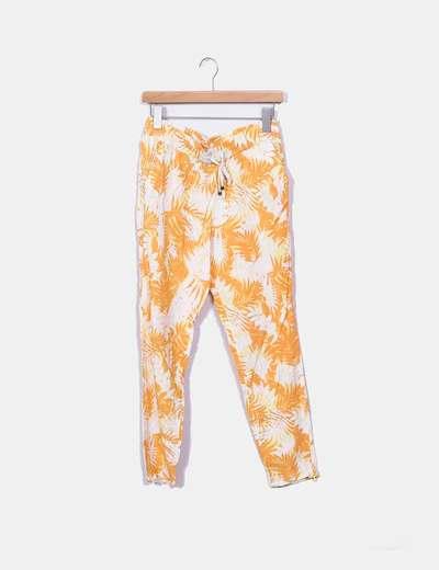 Pantalon blanc imprimé floral orange Mango