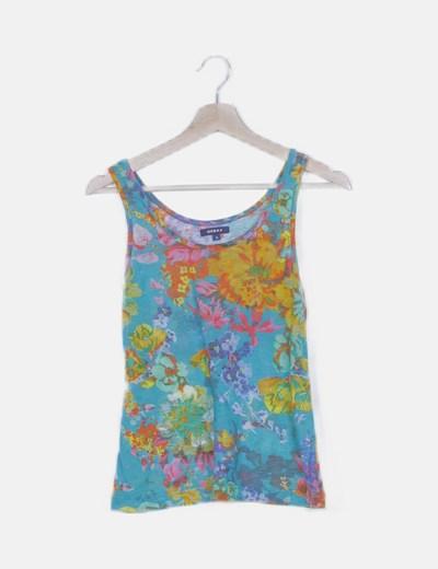 Camiseta azul turquesa floral
