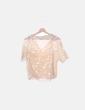 Camisa beige de paillettes Zara