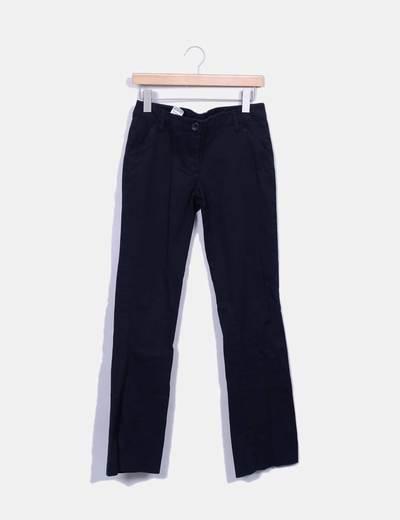 Pantalon bleu marine droit Benetton