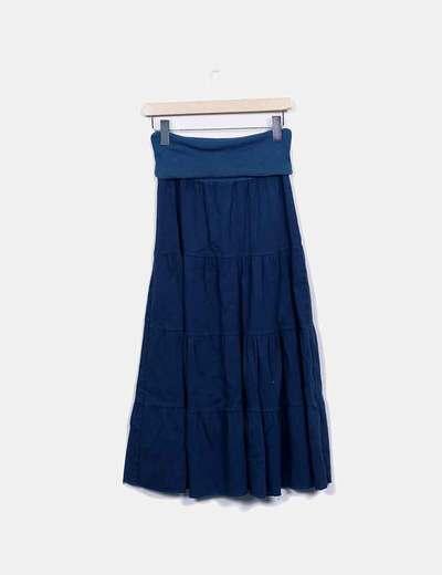 Falda larga azul con parches