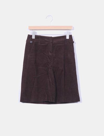 Falda midi marrón micropana Mango