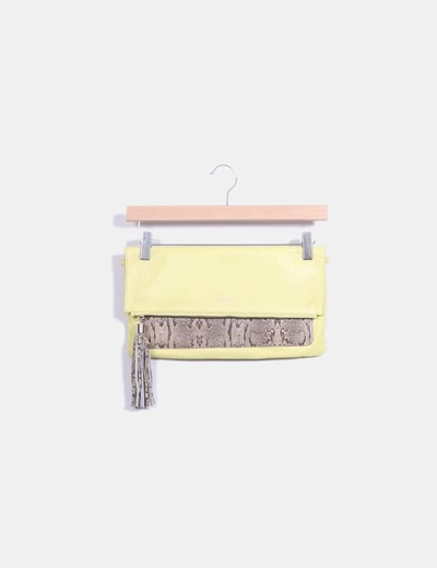 Bolso de mano amarillo con estampado de serpiente en marrón Stella Rittwagen