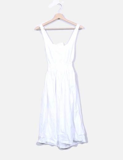 Robe blanche midi avec motif à bretelles Zara