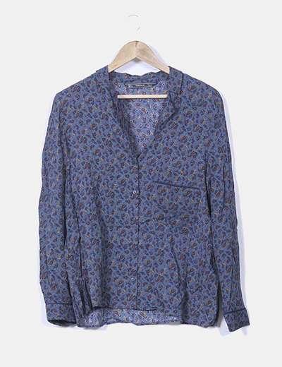 Blusa azul petróleo estampado cachemira Zara