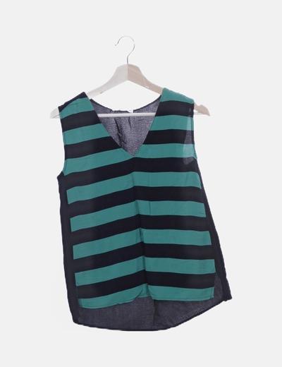 Blusa combinada rayas verde y negra