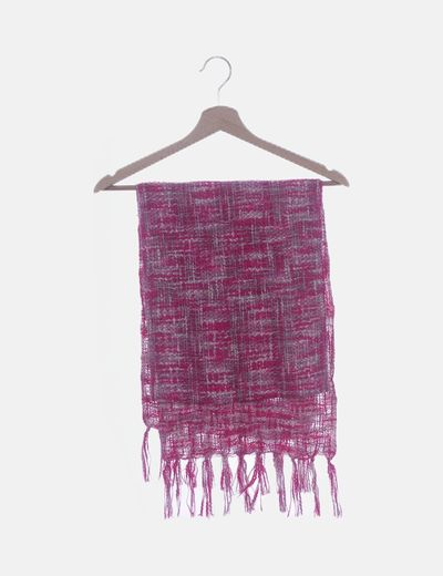 Bufanda de jaspeada rosa con flecos