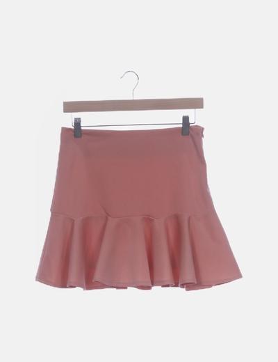 Falda rosa palo evasé