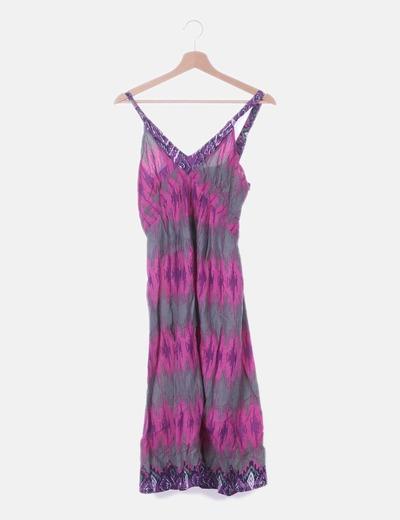 Maxi vestido print morado y rosa