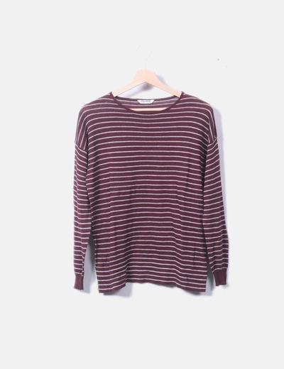 Jersey tricot fino burdeos raya gris