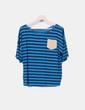 Camiseta azul de rayas con bolsillo de antelina NoName
