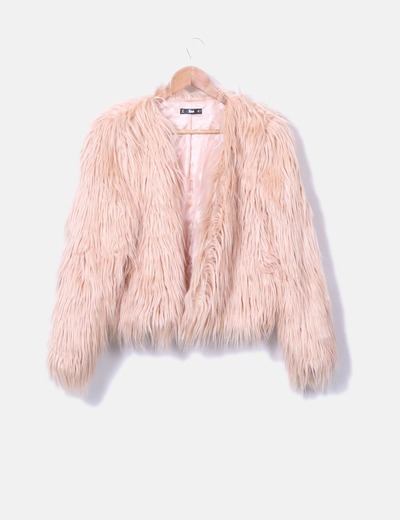 Manteau rose long de à fourrure SheIn