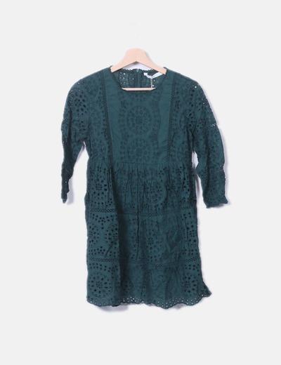 Zara Vestito verde fustellato (sconto 42%) - Micolet ffdcfab3a6c