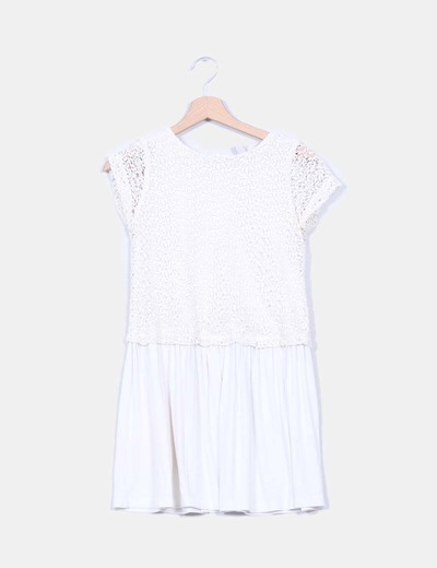 Vestido color crudo combinado crochet Zara Kids