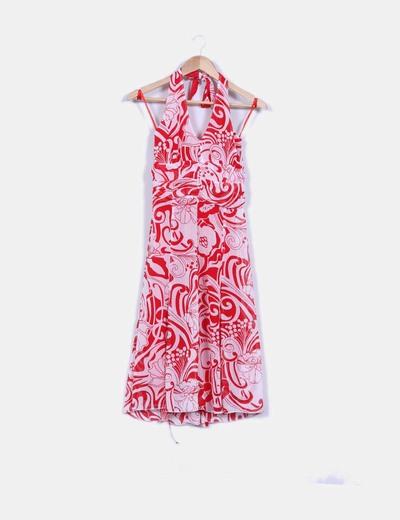Vestido texturizado tirante al cuello, estampado bicolor NoName
