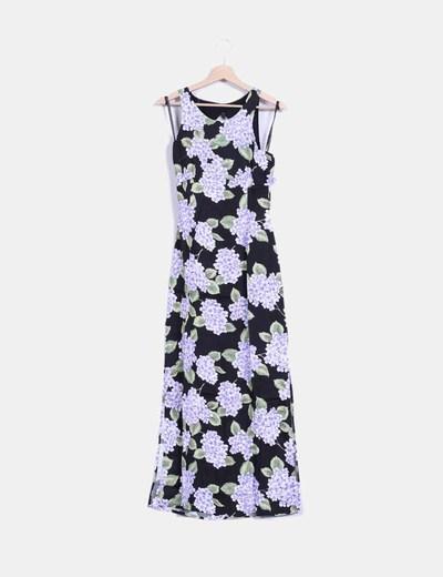 Maxi vestido negro estampado floral MINKPINK