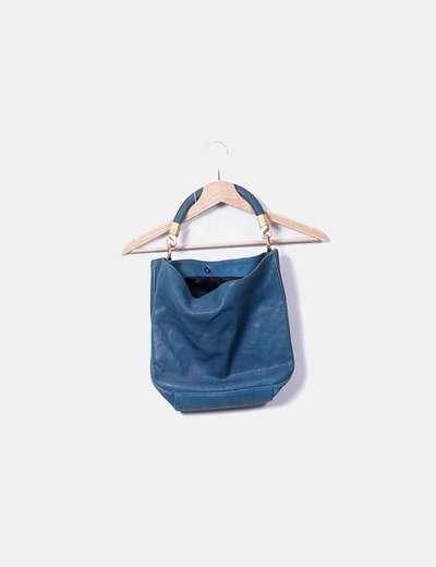 Bolso de mano azul petroleo de piel