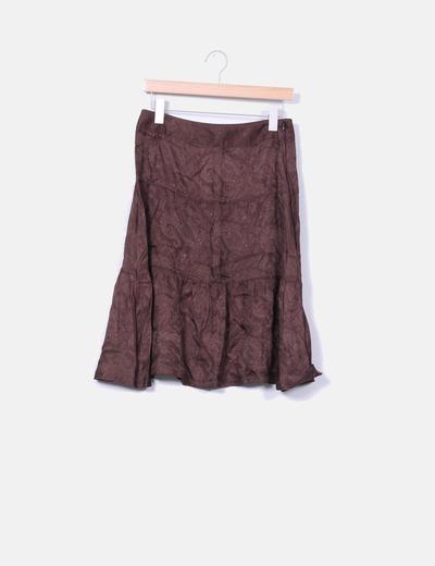 Falda marrón satinada volantes Massimo Dutti