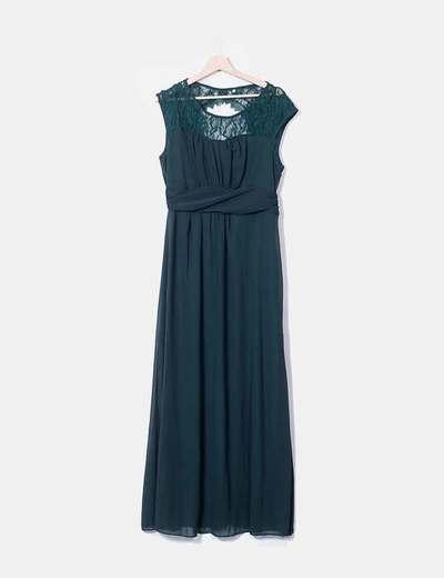 Maxi vestido verde botella combinado NoName