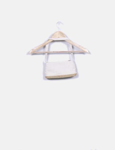 Mini bolso beige con rafia