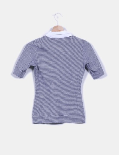 Camiseta rayas con solapas blancas