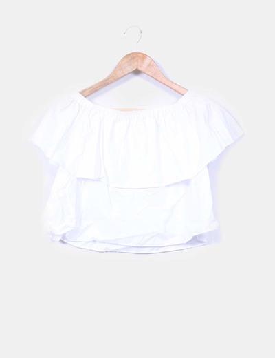 salida online precio loco más fotos Blusa blanca hombros descubiertos