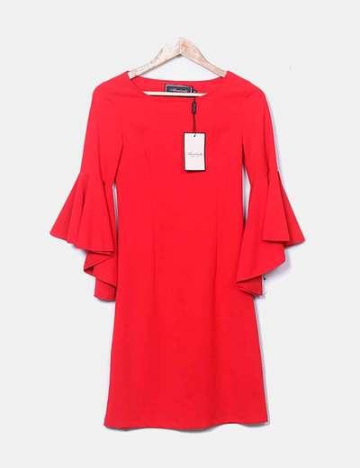 Vestido recto rojo mangas volante