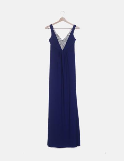 Vestido maxi de fiesta azul klein con strass