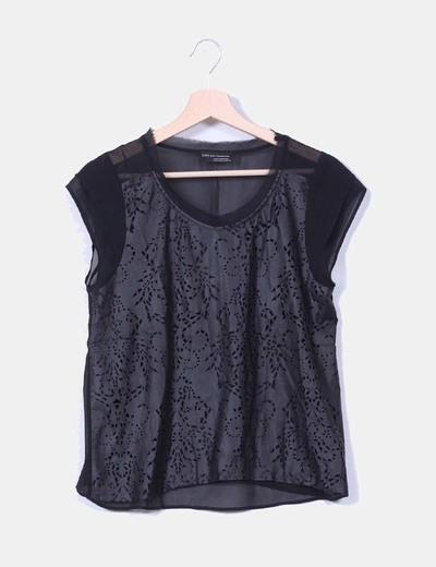 Blusa de grasa craquelada Zara