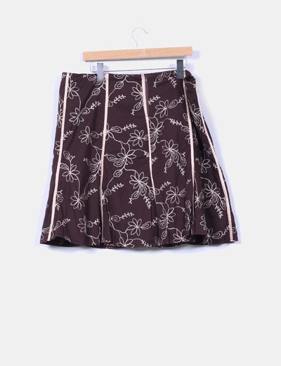 Falda midi marron bordada
