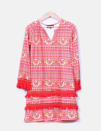 Vestido rojo estampado manga larga flecos Hippyssidy