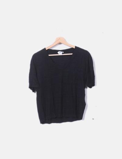 Camiseta negra jaspeada