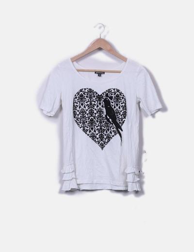 Camiseta blanca print detalle volantes