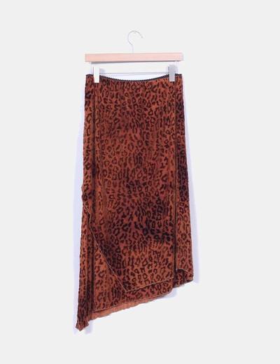 Falda midi marron estampado animal print aterciopelada