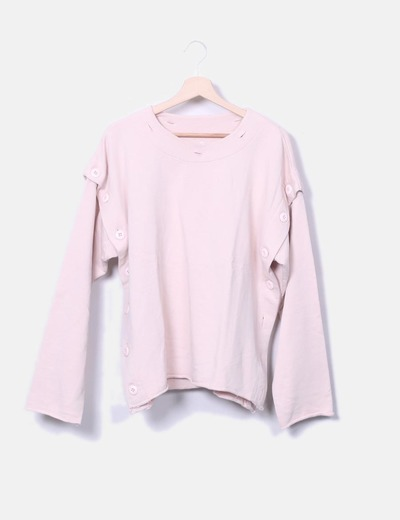 Sudadera oversize rosa palo