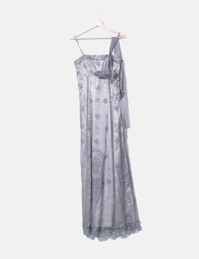 Vestido de fiesta maxi gris combinado