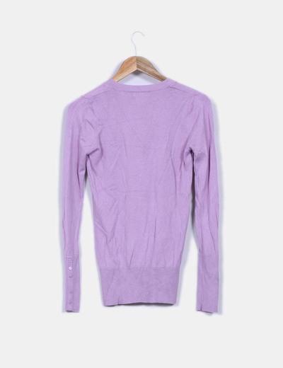 Jersey basico lila cuello pico
