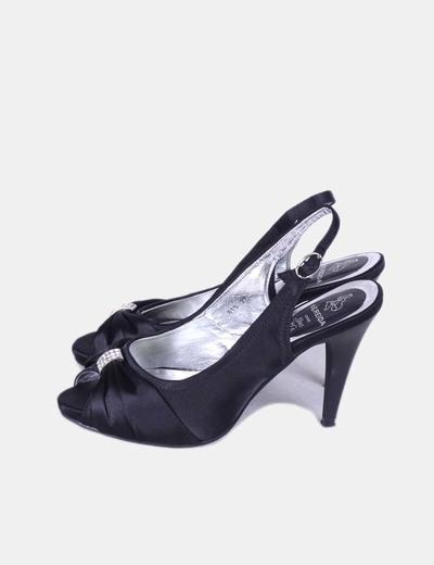 Sandalia negra satinada con strass Nereida