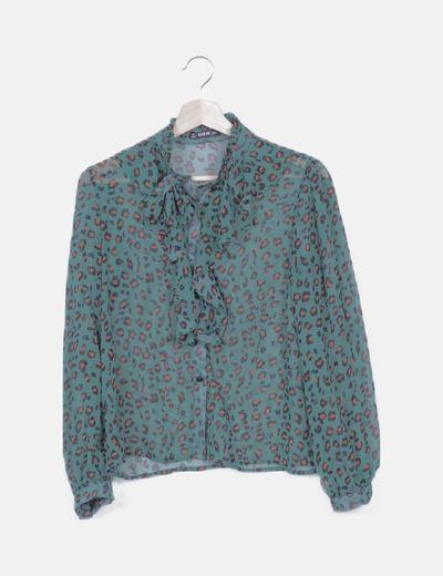 Camisa semitransparente verde animal print