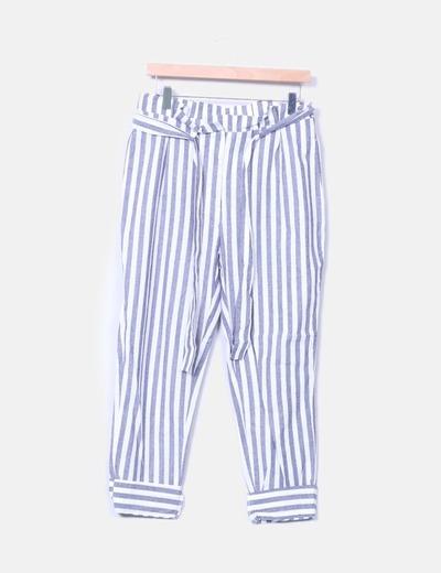 Pantalon bleu rayé baggy Zara
