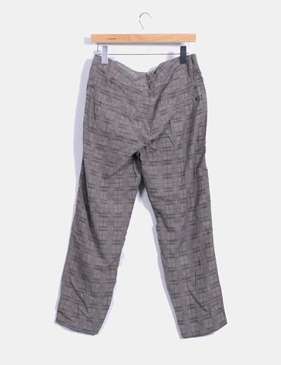 Pantalon cuadros gris con pinzas