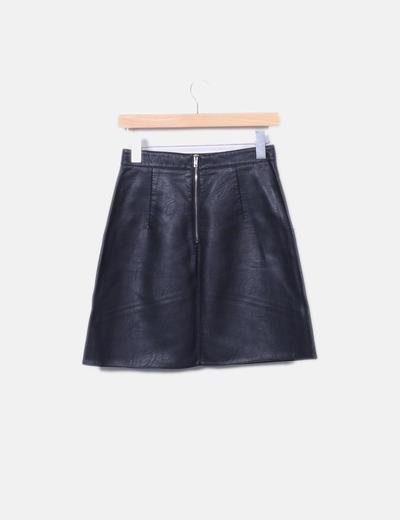 411a073eb Minifalda negra polipiel