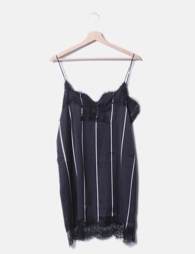 Vestido camisero de rayas gris oscuro