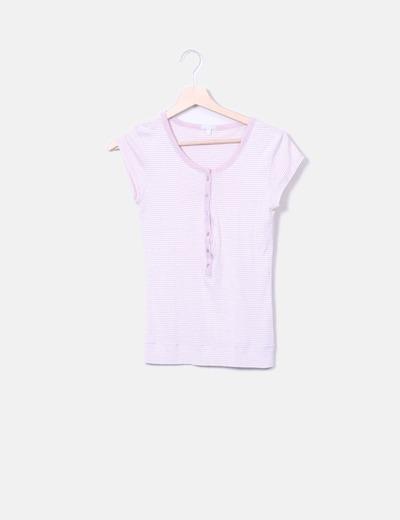 Camiseta manga corta rayas glitter