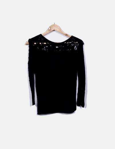 Jersey negro de punto combinada Mariona Gen