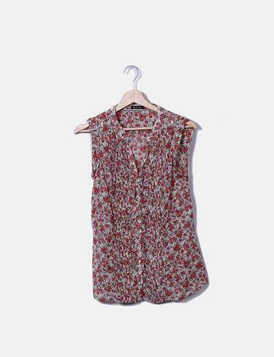 Camisa floral sin mangas