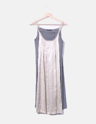 Vestido combinado bicolor Cortefiel