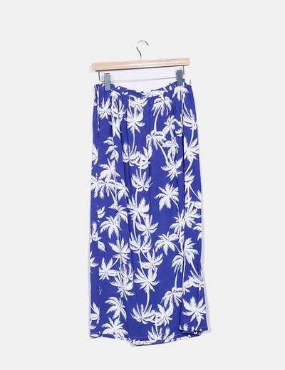 Falda maxi azul y blanca estampada